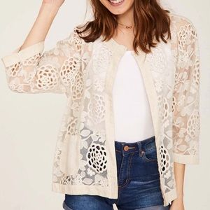 ITALIAN MADE CARDIGAN WITH LACE CROCHET DETAIL